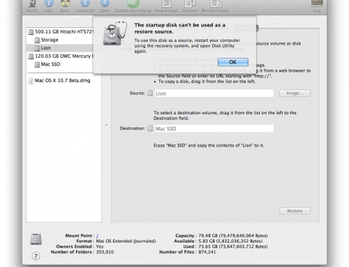 Preparing for Lion – Startup disk can't be used as a restore source